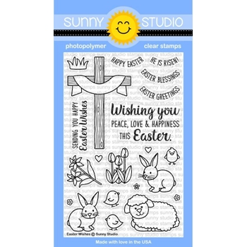 Sunny Studio EASTER WISHES Clear Stamp Set SSCL150
