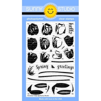 Sunny Studio TIMELESS TULIPS Clear Stamp Set SSCL156