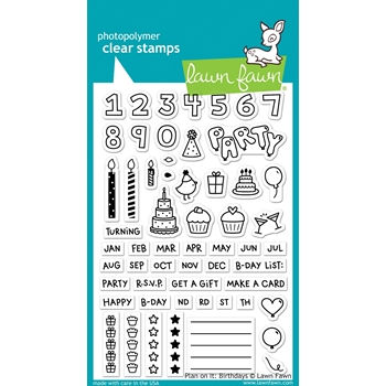 Lawn Fawn PLAN ON IT BIRTHDAY Clear Stamps LF1340