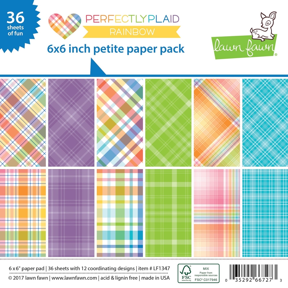 Lawn Fawn PERFECTLY PLAID RAINBOW Petite 6x6 Paper Pack LF1347 zoom image