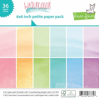 Lawn Fawn WATERCOLOR WISHES Petite 6x6 Paper Pack LF1355