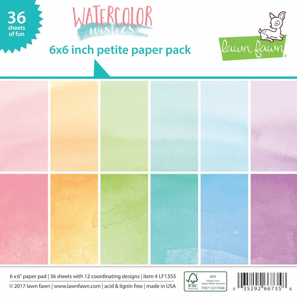 Lawn Fawn WATERCOLOR WISHES Petite 6x6 Paper Pack LF1355 zoom image