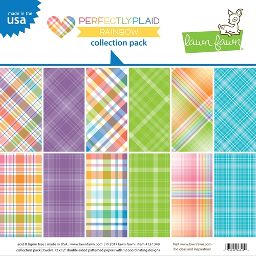 Lawn Fawn 12 x 12 Perfectly Plaid Rainbow Paper Pack