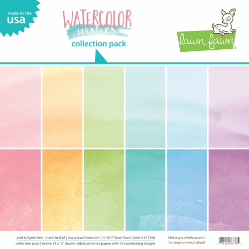Lawn fawn Watercolor Wishes 12x12 Paper Pack
