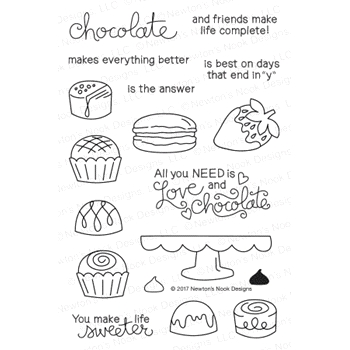 Newton's Nook Designs LOVE AND CHOCOLATE Clear Stamp Set 20170102