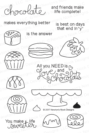 Newton's Nook Designs LOVE AND CHOCOLATE Clear Stamp Set 20170102 zoom image