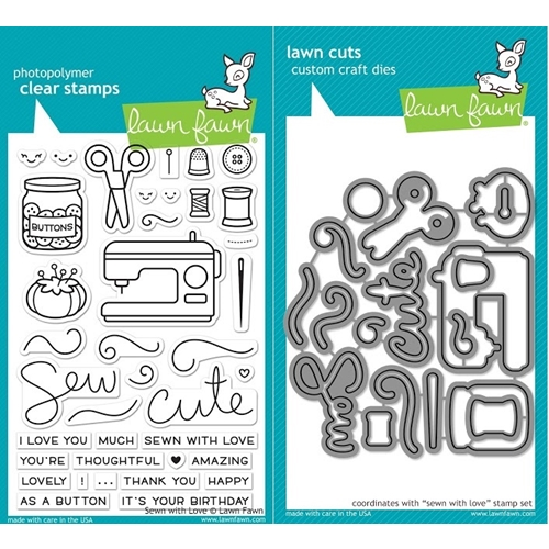 Lawn Fawn SET LF17SETSWL SEWN WITH LOVE Clear Stamps and Dies Preview Image