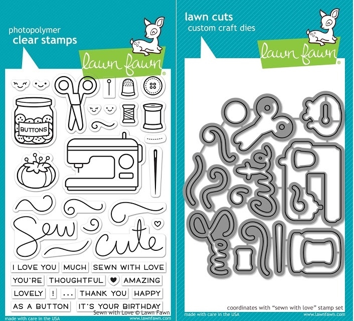 Lawn Fawn SET LF17SETSWL SEWN WITH LOVE Clear Stamps and Dies zoom image