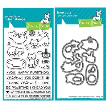 Lawn Fawn SET LF17SETMYD MEOW YOU DOIN' Clear Stamps and Dies