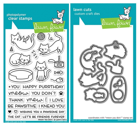 Lawn Fawn SET LF17SETMYD MEOW YOU DOIN' Clear Stamps and Dies zoom image