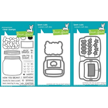 Lawn Fawn SET LF17SETHYB HOW YOU BEAN? Clear Stamps and Dies