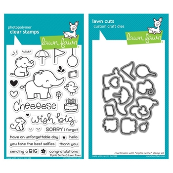 RESERVE Lawn Fawn SET LF17SETES ELPHIE SELFIE Clear Stamps and Dies