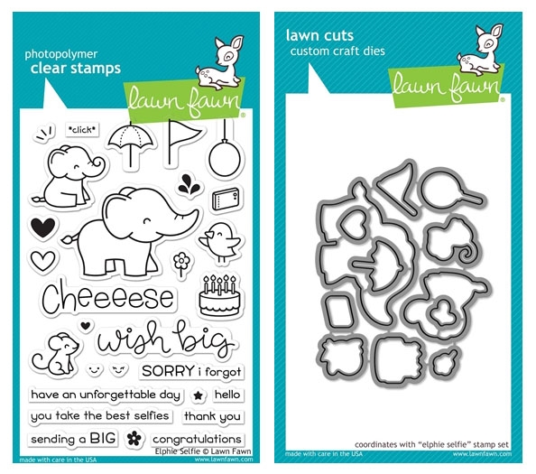 Lawn Fawn SET ELPHIE SELFIE Clear Stamps and Dies