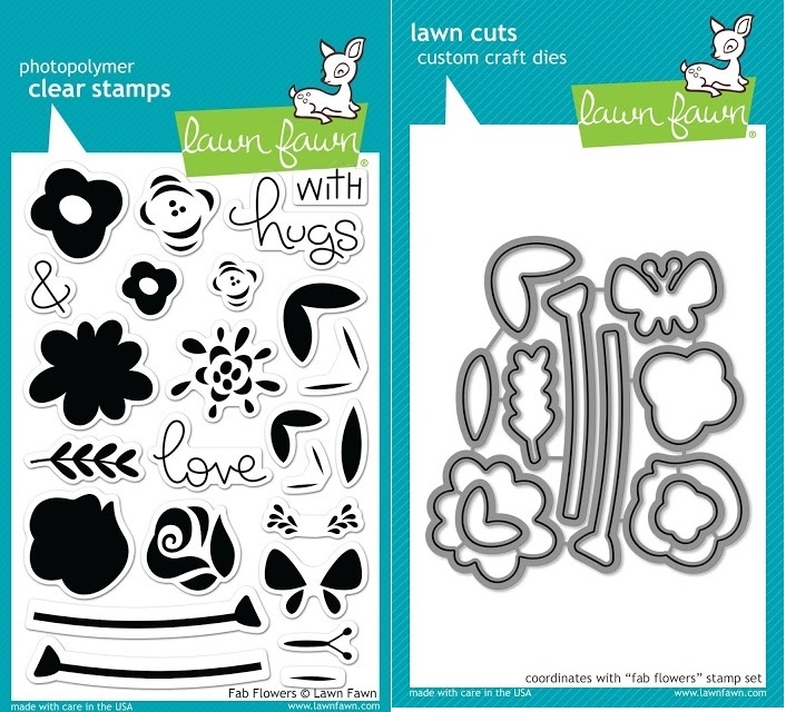 Lawn Fawn SET JLF17SETFF FAB FLOWERS Clear Stamps and Dies zoom image