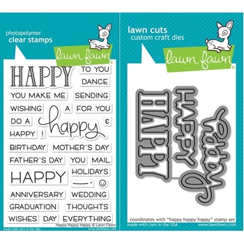 RESERVE Lawn Fawn SET LF17SETHHH HAPPY HAPPY HAPPY Clear Stamps and Dies