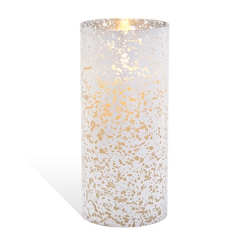 Luminara SILVER MERCURY GLASS Cylinder 8 inch Unscented Flameless Candle 10006348