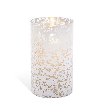 Luminara SILVER MERCURY GLASS Cylinder 6 inch Unscented Flameless Candle 100006347