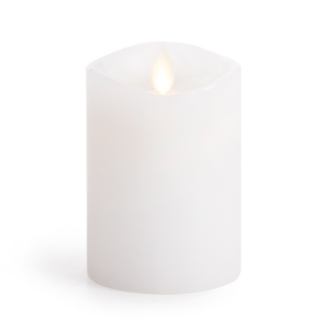 Luminara Unscented WHITE WAX 4 INCH Pillar Flameless Candle LM3240002 zoom image