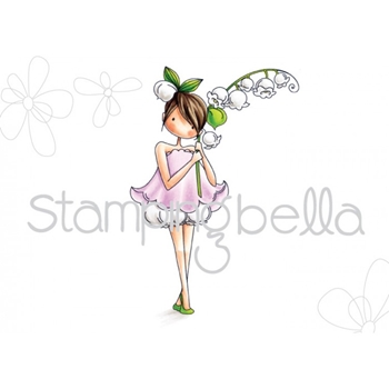 Stamping Bella Cling Stamp TINY TOWNIE GARDEN GIRL LILY OF THE VALLEY Rubber UM EB449
