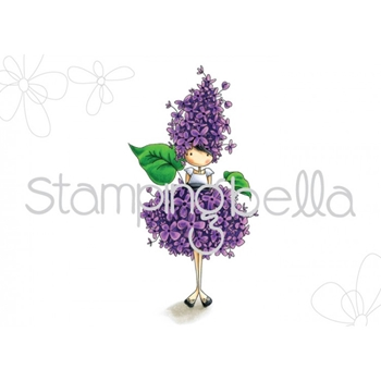 Stamping Bella Cling Stamp TINY TOWNIE GARDEN GIRL LILAC Rubber UM EB451