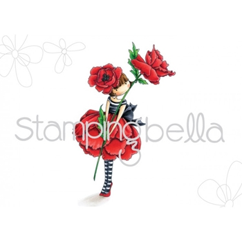Stamping Bella Cling Stamp TINY TOWNIE GARDEN GIRL POPPY Rubber UM EB450