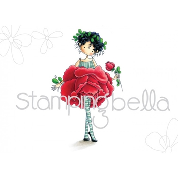 Stamping Bella Cling Stamp TINY TOWNIE GARDEN GIRL ROSE Rubber UM EB452