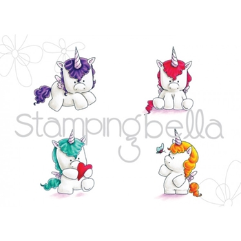 Stamping Bella Cling Stamp SET OF UNICORNS Rubber UM EB442
