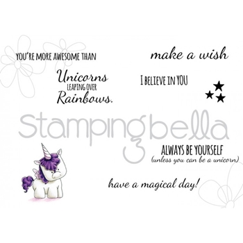 Stamping Bella Cling Stamp UNICORN SENTIMENTS Rubber UM EB443