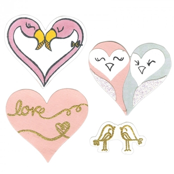 Sizzix Framelits BIRD LOVE Combo Die and Stamp Set 661855