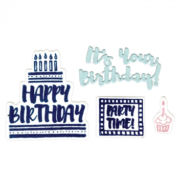 Sizzix Framelits ITS YOUR BIRTHDAY Combo Die and Stamp Set 661857