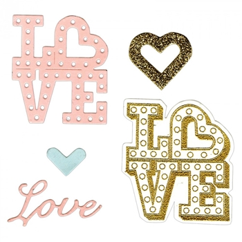 Sizzix Framelits LOVE IN LIGHTS Combo Die and Stamp Set 661858