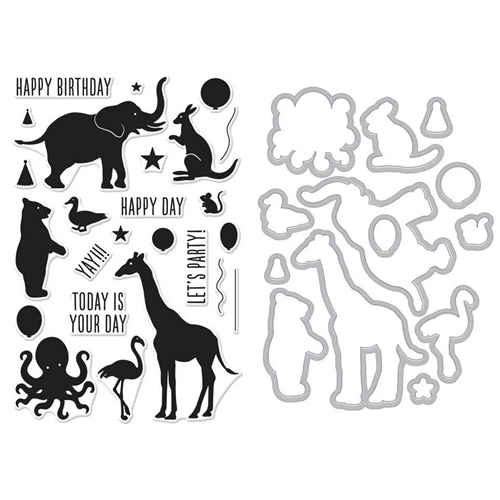 Hero Arts BIRTHDAY ANIMAL SILHOUETTES Clear Stamp and Die Combo SB150 Preview Image