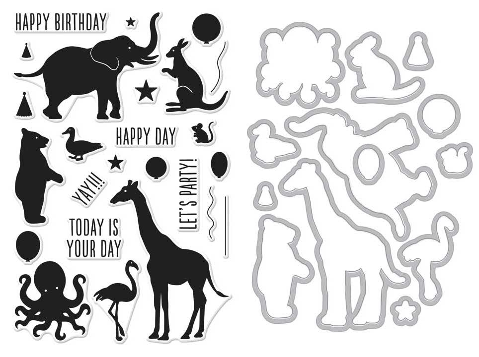 Hero Arts BIRTHDAY ANIMAL SILHOUETTES Clear Stamp and Die Combo SB150 zoom image
