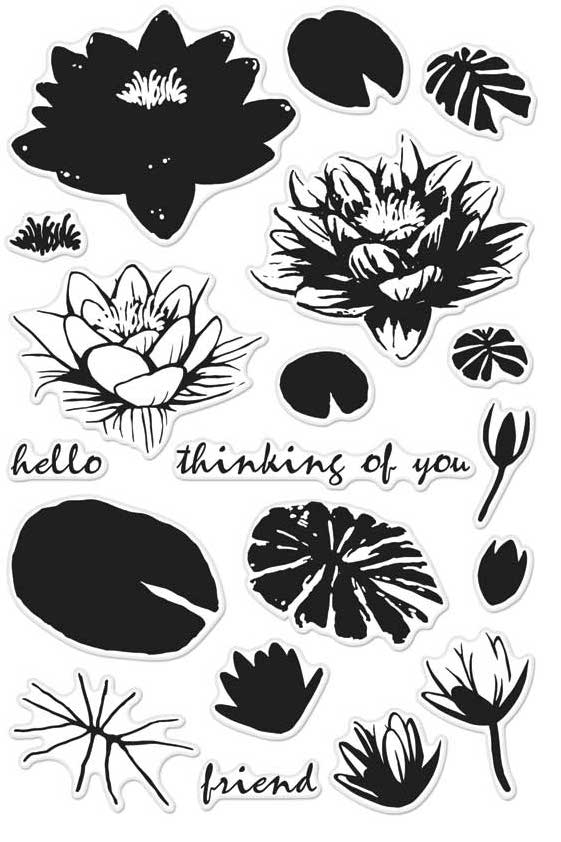 Hero Arts Clear Stamps Color Layering WATER LILIES CM128 zoom image
