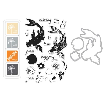RESERVE Hero Arts Color Layering KOI Clear Stamp and Die Bundle SB140