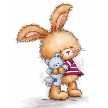 Wild Rose Studio BUNNY WITH TEDDY Clear Stamp Set CL502