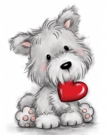 Wild Rose Studio DOG WITH HEART Clear Stamp Set CL503 zoom image