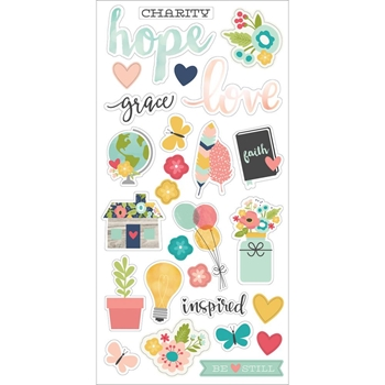 Simple Stories FAITH 6 x 12 Chipboard Stickers 7715