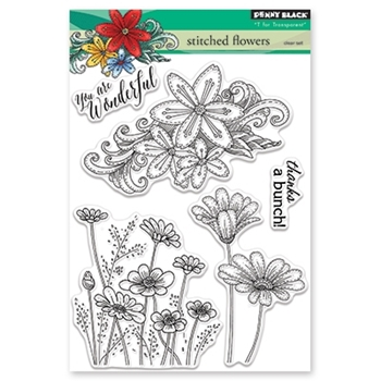 Penny Black Clear Stamps STITCHED FLOWERS 30-418