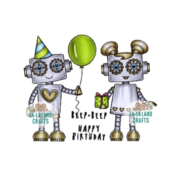 La-La Land Crafts Cling Stamp BIRTHDAY ROBOTS Set 3012