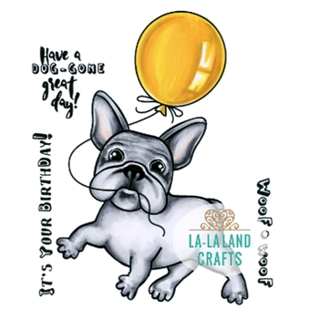 La-La Land Crafts Cling Stamp BALLOON FRENCHIE Set 7015