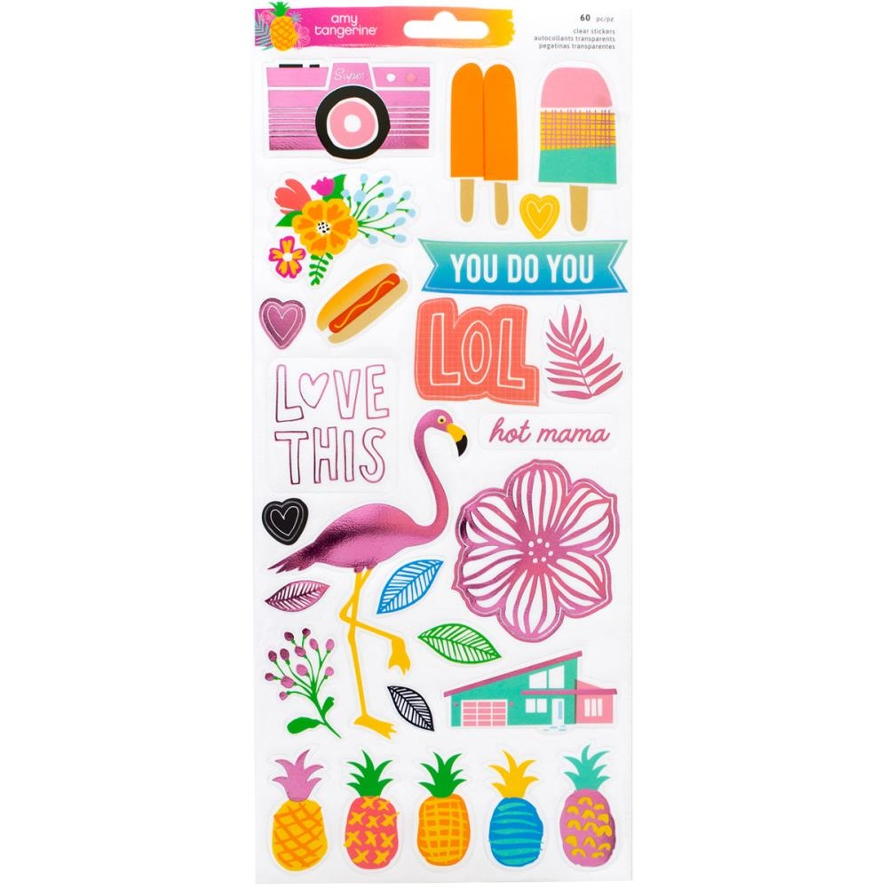 American Crafts Amy Tangerine ON A WHIM Accents and Phrases Clear Stickers 378749 zoom image