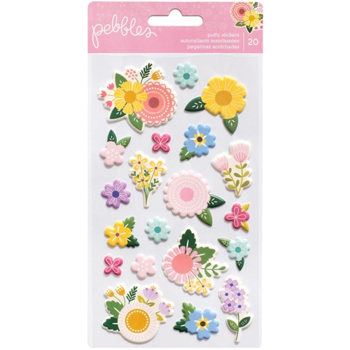 Pebbles Inc. FLOWERS Puffy Icon Stickers Tealightful 733542* Preview Image