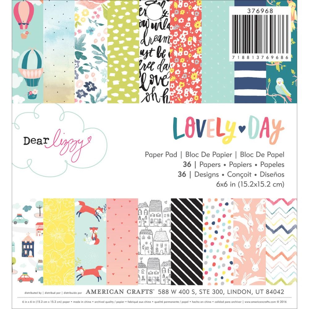 American Crafts Dear Lizzy LOVELY DAY 6x6 Paper Pad 376968 zoom image