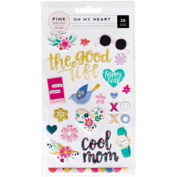 Pink Paislee OH MY HEART Paige Evans Puffy Stickers 310524