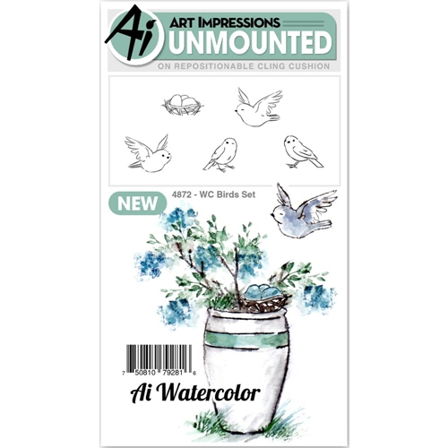 Art Impressions Watercolor BIRDS SET Cling Rubber Stamps 4872 Preview Image