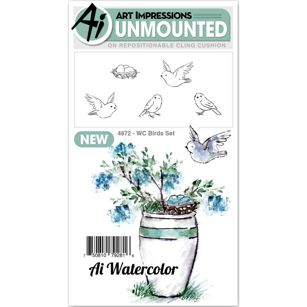 Art Impressions Watercolor BIRDS SET Cling Rubber Stamps 4872 zoom image