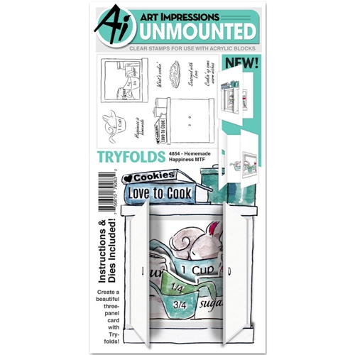 Art Impressions HOMEMADE HAPPINESS Mini Tryfolds Clear Stamps and Dies 4854* Preview Image