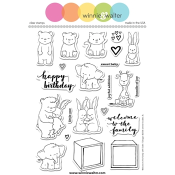 Winnie and Walter WELCOME TO THE FAMILY Clear Stamps Evelin T Designs WW084