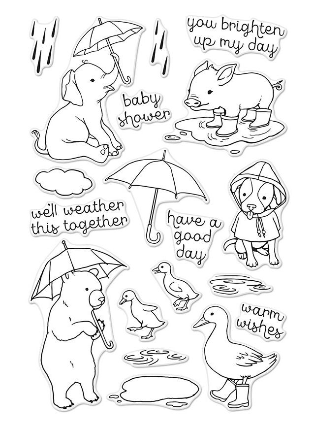 Hero Arts FUN IN THE RAIN Clear Stamp Set CM152 zoom image